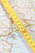 foto of meter stick  - photo of road map of venice with measuring stick - JPG
