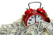 Alarm Clock Covered Pile Of Money