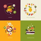stock photo of vegetarian meal  - Icons for cooking - JPG