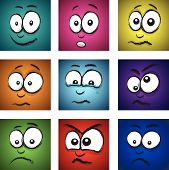 stock photo of blubber  - a set of nine cartoon coloured faces - JPG