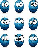 image of blubber  - a set of cartoon blue egg faces - JPG