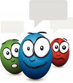 cartoon coloured egg face talking