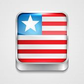 vector 3d style flag icon of liberia