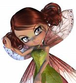 foto of fairyland  - Digitally rendered illustration of cartoon blossom fairy on white background - JPG