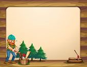 Illustration of an empty template with a man chopping woods in front