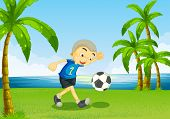 Illustration of a young soccer player at the riverside with palm trees