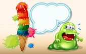 Illustration of a sweaty fat monster near the giant icecream