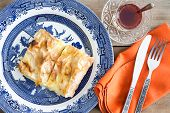 Fresh Homemade Turkish Borek Served With Tea