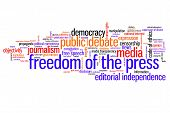 stock photo of freedom speech  - Freedom of the press issues and concepts word cloud illustration - JPG