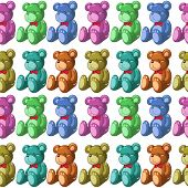 Illustration of the seamless design with bears on a white background