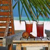 Two cocktails at tropical beach