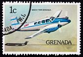 Postage Stamp Grenada 1976 Beech Twin Bonanza, Airplane