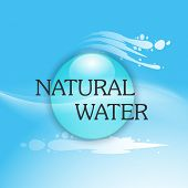 World Water Day concept with stylish text Natural Water and water drop on blue background.