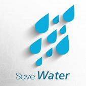pic of water shortage  - World Water Day concept with water drops and stylish text Save Water on grey background - JPG