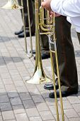 Постер, плакат: Trombones Playing In A Big Band
