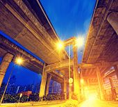 elevated express way Under view of the city overpass at night, HongKong Asia China