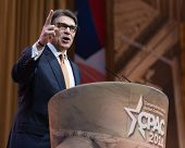 NATIONAL HARBOR, MD - MARCH 7, 2014: Texas Governor Rick Perry speaks at the Conservative Political