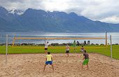 Volleyball On The Beach Of Lake Geneva