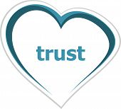 Marketing Concept, Trust Word On Love Heart