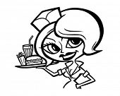 Cute Waitress 2 - Retro Clipart Illustration