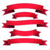 Illustration set of red ribbons isolated on white.