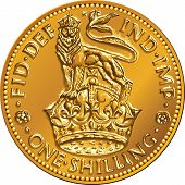 stock photo of shilling  - British money gold coin one shilling with the image of a heraldic lion and crown isolated on white background - JPG
