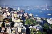 Bosphorus Strait And Bridge Panorama From Galata Tower