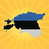 Estonia map flag on sunburst illustration