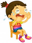picture of sob  - Illustration of a young girl crying on a white background - JPG