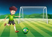 Illustration of a player kicking the ball with the flag of Brazil