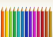 Illustration of the colorful long pencils on a white background
