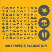 100 travel, recreation, vacation icons, buttons, symbols isolated set, vector on background