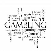 Gambling Word Cloud Concept In Black And White