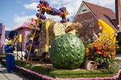 Lisse, Netherlands - April 20, 2013: Flowers composition on flower parade. The annual Flower Parade