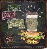 Best fast food chalkboard design with hamburger, french fries and coffee.Eps10.