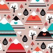 Seamless Scandinavian mountain winter wonderland illustration background pattern in vector