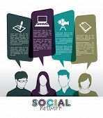 Social media icons with group of people