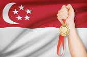 Medal In Hand With Flag On Background - Republic Of Singapore