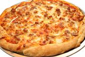 foto of hot fresh pizza  - Fresh Hot Delicious Pizza on a Pizza Pan - JPG