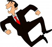Gleeful businessman jumping for joy and clicking heels in the air