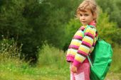 Little Girl With Backpack Outdoor In Summer