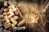 Detail Of Wine Glasses And Corks In Filtered Vintage Style