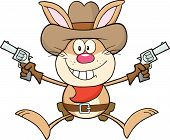 Cowboy Rabbit Cartoon Character Holding Up Two Revolvers