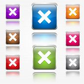 Cross Mark Round Corner Vector Web Icon Button Set