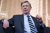 NATIONAL HARBOR, MD - MARCH 6, 2014: Columnist George Will speaks at the Conservative Political Action Conference (CPAC).