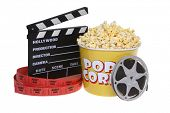 picture of clapper board  - movie theater still life with popcorn - JPG