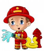stock photo of fireman  - Cute cartoon illustration of a fireman isolated on white - JPG