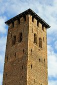 Medieval Tower Built With Bricks For The Defense Of The Town By The Barbarian Invasions