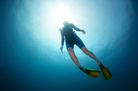 stock photo of bottomless  - Free diver ascending to the surface - JPG