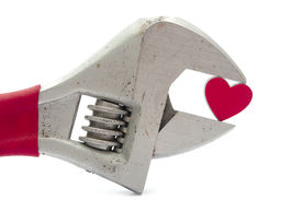 picture of crescent-shaped  - crescent wrench and heart  - JPG